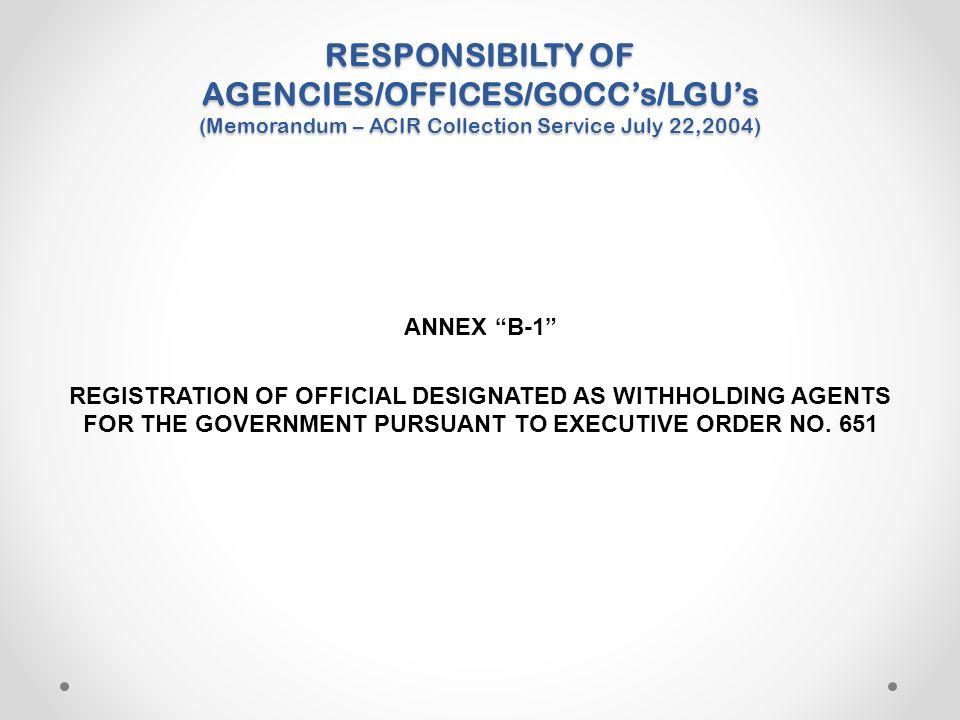 "RESPONSIBILTY OF AGENCIES/OFFICES/GOCC's/LGU's (Memorandum – ACIR Collection Service July 22,2004) ANNEX ""B-1"" REGISTRATION OF OFFICIAL DESIGNATED AS"