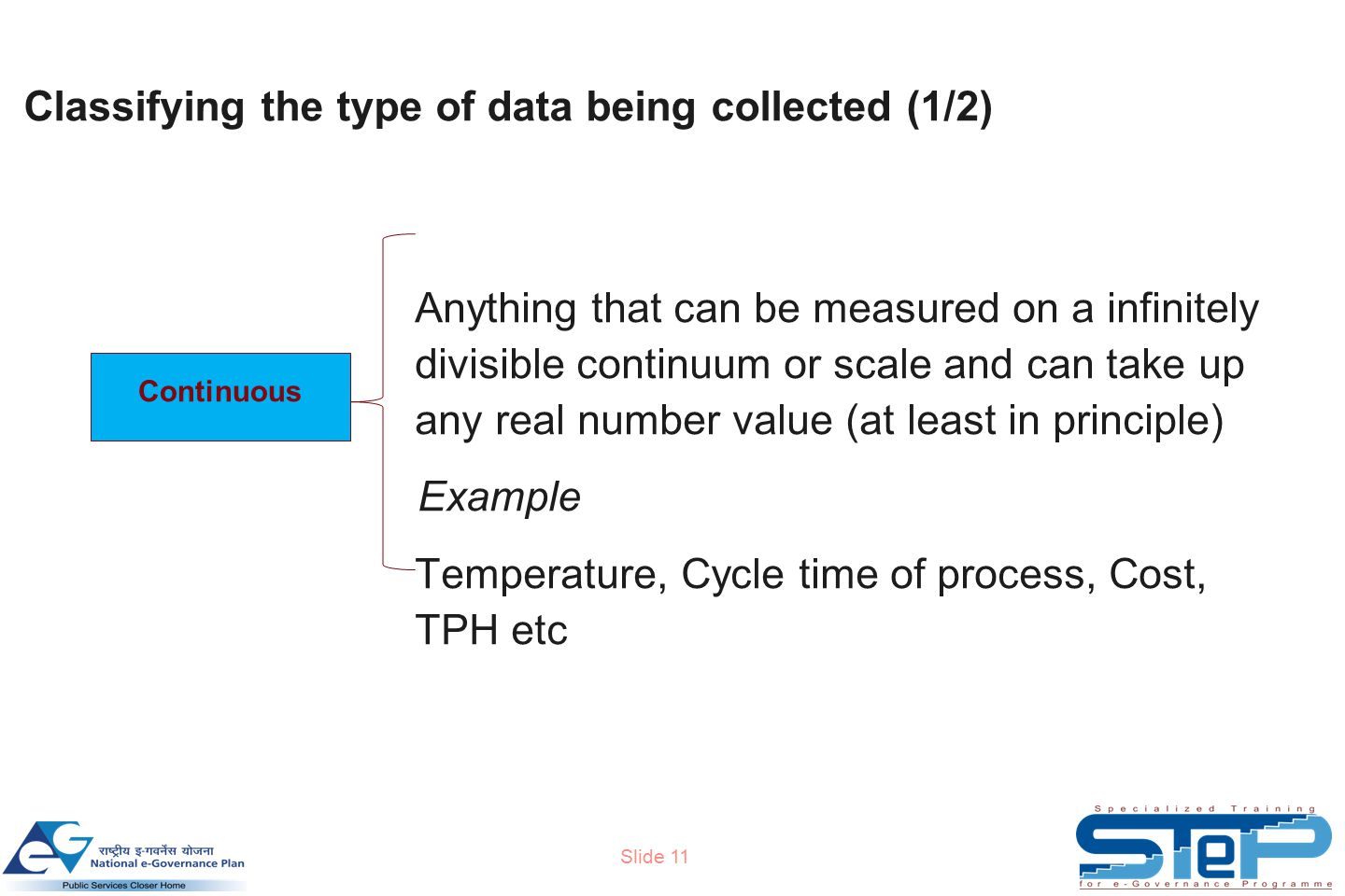 Slide 11 Classifying the type of data being collected (1/2) Anything that can be measured on a infinitely divisible continuum or scale and can take up any real number value (at least in principle) Example Temperature, Cycle time of process, Cost, TPH etc Continuous