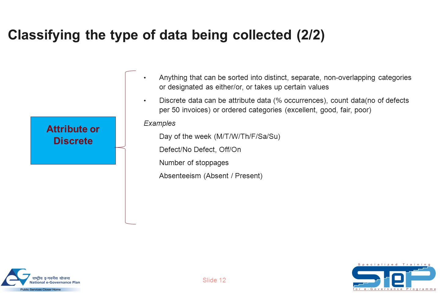 Slide 12 Classifying the type of data being collected (2/2) Attribute or Discrete Anything that can be sorted into distinct, separate, non-overlapping categories or designated as either/or, or takes up certain values Discrete data can be attribute data (% occurrences), count data(no of defects per 50 invoices) or ordered categories (excellent, good, fair, poor) Examples Day of the week (M/T/W/Th/F/Sa/Su) Defect/No Defect, Off/On Number of stoppages Absenteeism (Absent / Present)