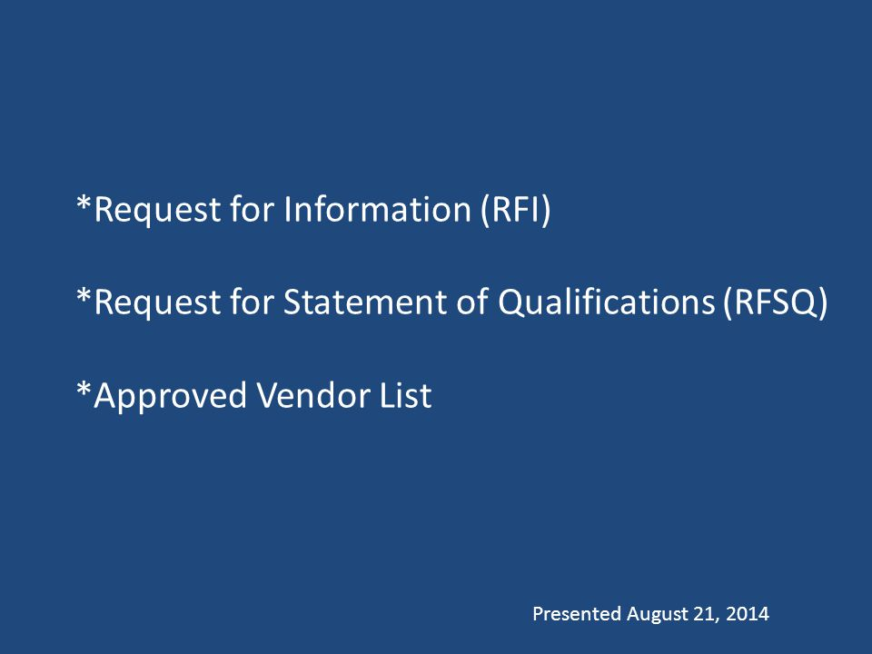 Request for Information (RFI) Code: 63G-6a Section 5
