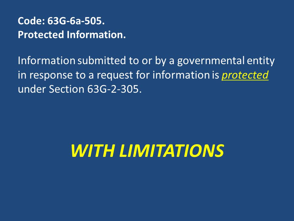 Code: 63G-6a-505. Protected Information.