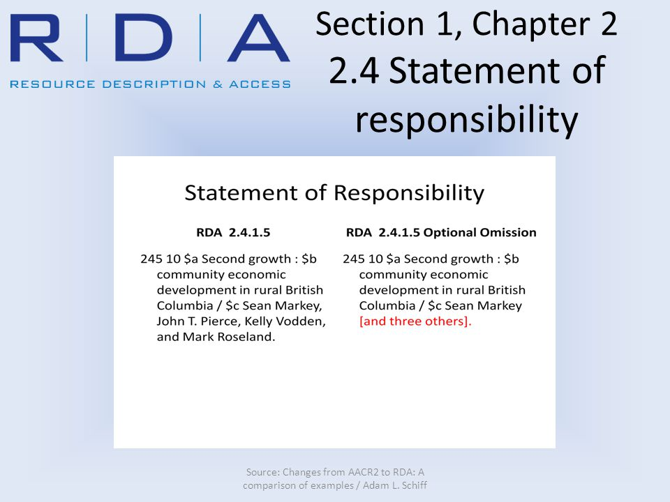 Section 1, Chapter 2 2.4 Statement of responsibility Source: Changes from AACR2 to RDA: A comparison of examples / Adam L.