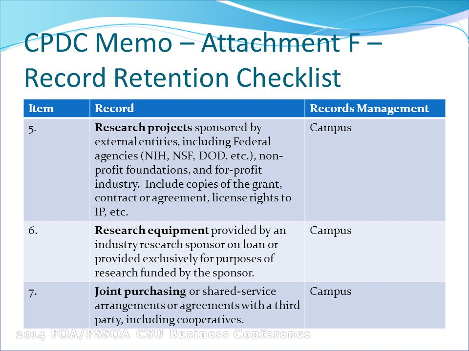 CPDC Memo – Attachment F – Record Retention Checklist ItemRecordRecords Management 5.Research projects sponsored by external entities, including Federal agencies (NIH, NSF, DOD, etc.), non- profit foundations, and for-profit industry.