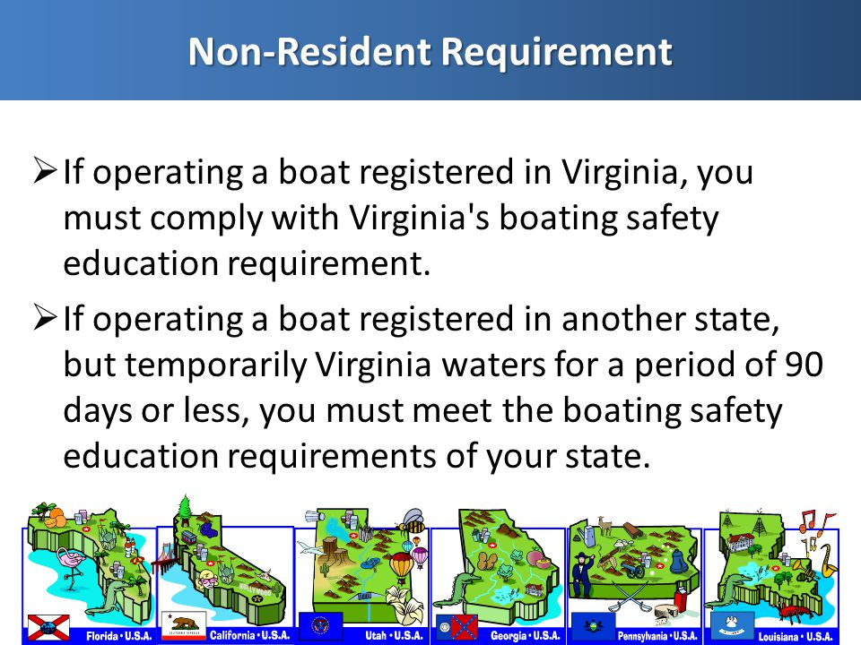  If operating a boat registered in Virginia, you must comply with Virginia s boating safety education requirement.