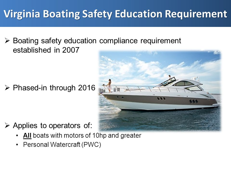  Boating safety education compliance requirement established in 2007  Phased-in through 2016  Applies to operators of: All boats with motors of 10hp and greater Personal Watercraft (PWC)