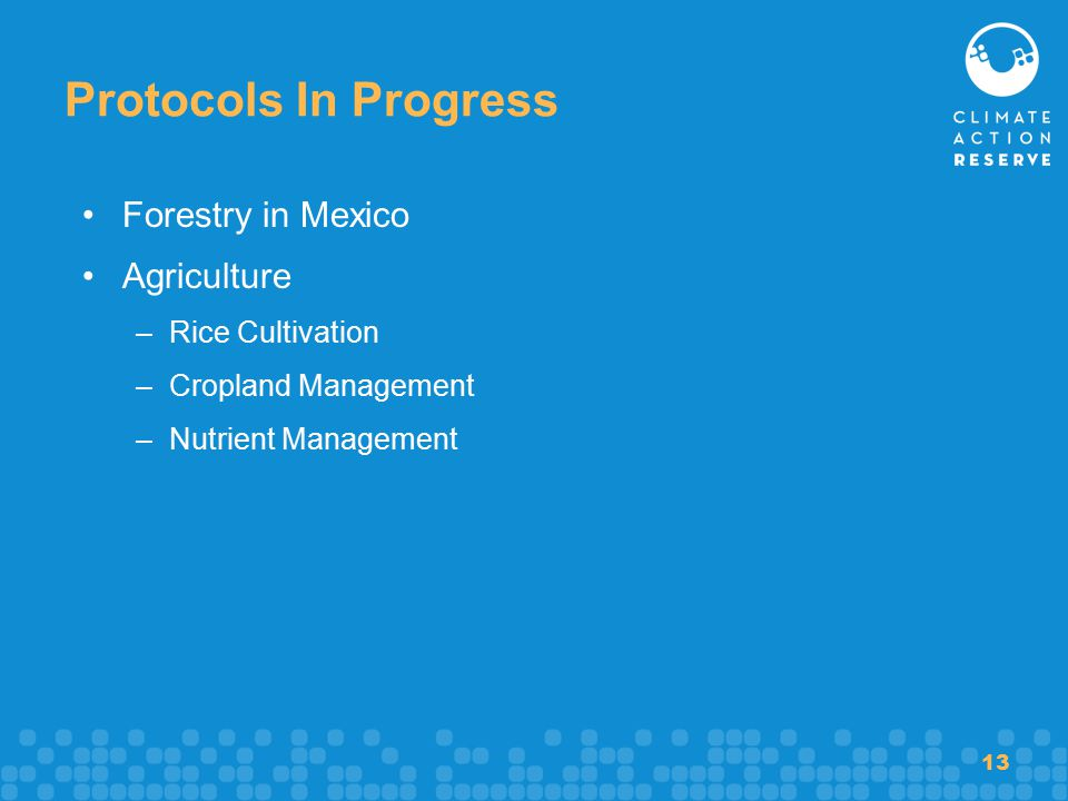 13 Protocols In Progress Forestry in Mexico Agriculture –Rice Cultivation –Cropland Management –Nutrient Management