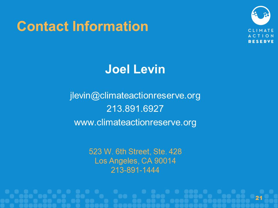 21 Contact Information Joel Levin W.