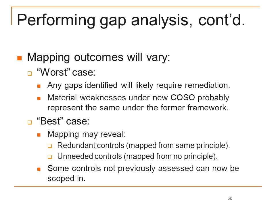 Performing gap analysis, cont'd.