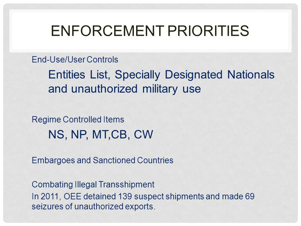 24 TH ANNUAL ECCO TRAINING APRIL 27,2012 TRENDS IN EXPORT ENFORCEMENT Office of Export Enforcement U.S.