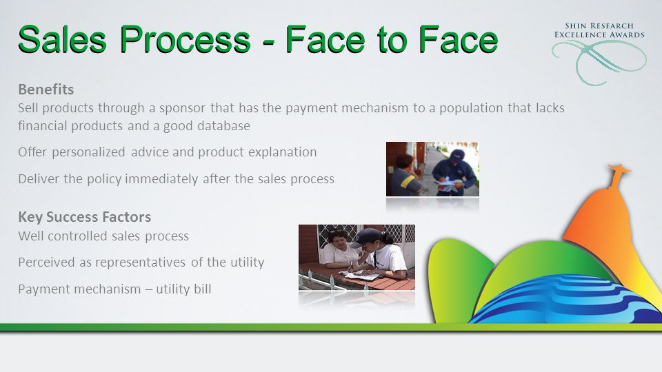 Benefits Sell products through a sponsor that has the payment mechanism to a population that lacks financial products and a good database Offer personalized advice and product explanation Deliver the policy immediately after the sales process Key Success Factors Well controlled sales process Perceived as representatives of the utility Payment mechanism – utility bill Sales Process - Face to Face