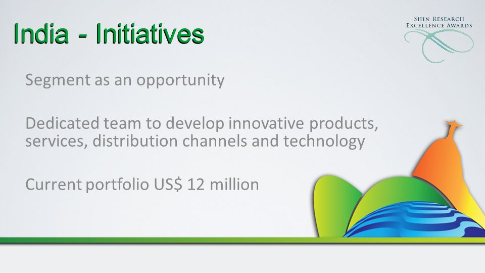 India - Initiatives Segment as an opportunity Dedicated team to develop innovative products, services, distribution channels and technology Current portfolio US$ 12 million