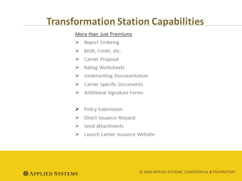 © 2009 APPLIED SYSTEMS.CONFIDENTIAL & PROPRIETARY Learn the Seven Steps of TS 1)Enter agency code.