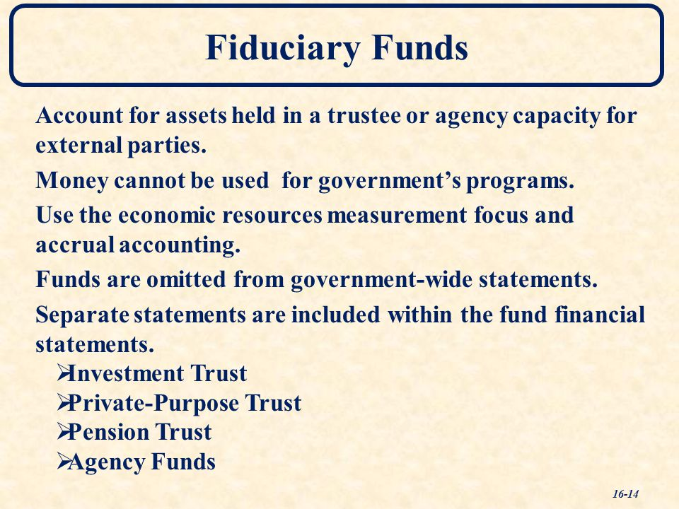 Fiduciary Funds 16-14 Account for assets held in a trustee or agency capacity for external parties.