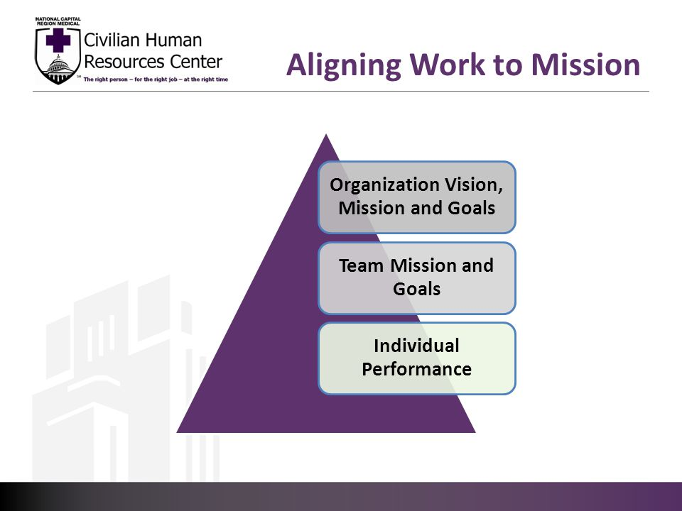Aligning Work to Mission Organization Vision, Mission and Goals Team Mission and Goals Individual Performance