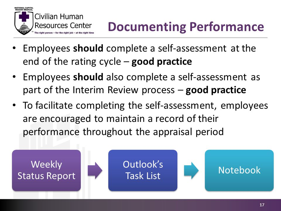 Employees should complete a self-assessment at the end of the rating cycle – good practice Employees should also complete a self-assessment as part of the Interim Review process – good practice To facilitate completing the self-assessment, employees are encouraged to maintain a record of their performance throughout the appraisal period 17 Documenting Performance Weekly Status Report Outlook's Task List Notebook