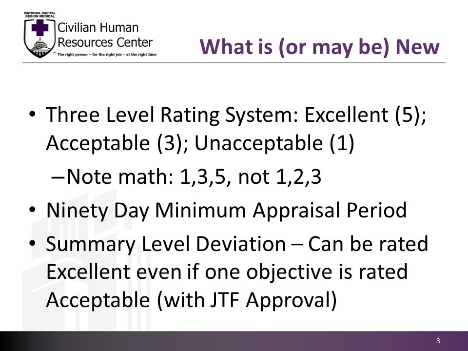 What is (or may be) New Three Level Rating System: Excellent (5); Acceptable (3); Unacceptable (1) – Note math: 1,3,5, not 1,2,3 Ninety Day Minimum Ap