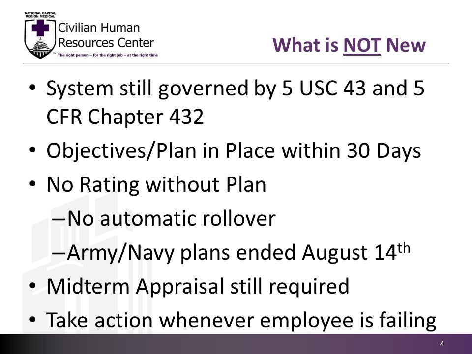 What is NOT New System still governed by 5 USC 43 and 5 CFR Chapter 432 Objectives/Plan in Place within 30 Days No Rating without Plan – No automatic
