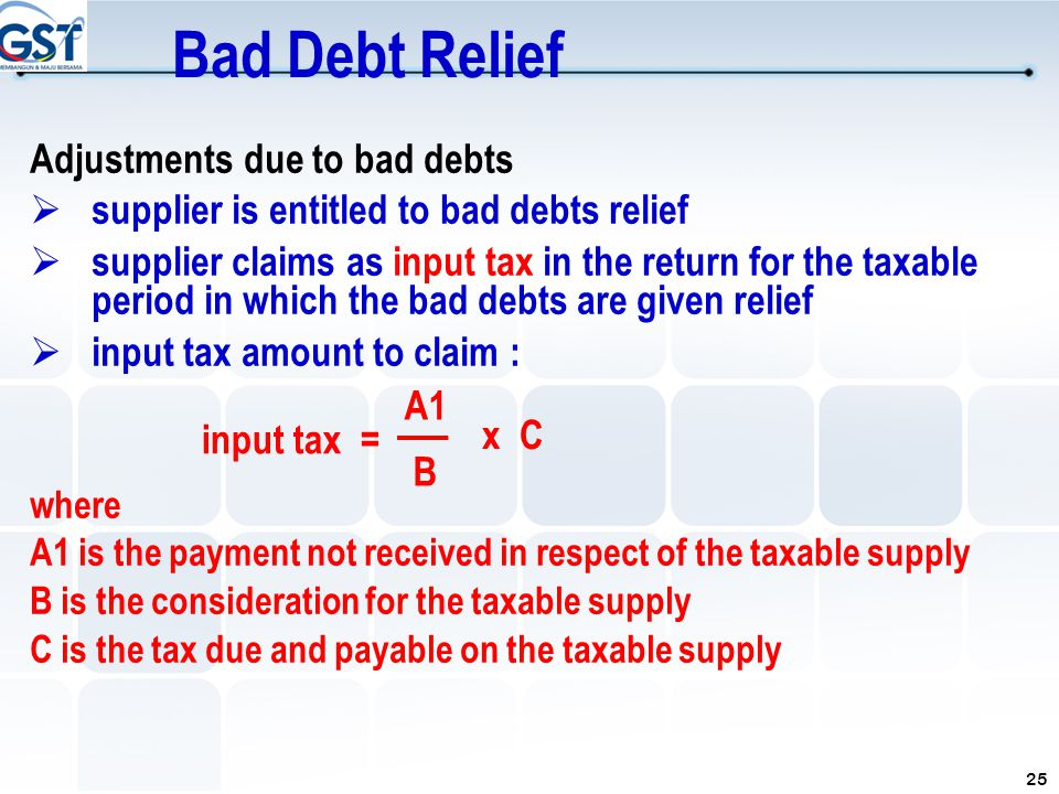 25 Adjustments due to bad debts  supplier is entitled to bad debts relief  supplier claims as input tax in the return for the taxable period in whic