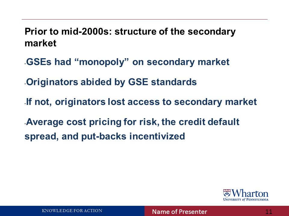 """KNOWLEDGE FOR ACTION Prior to mid-2000s: structure of the secondary market Name of Presenter11 GSEs had """"monopoly"""" on secondary market Originators abi"""