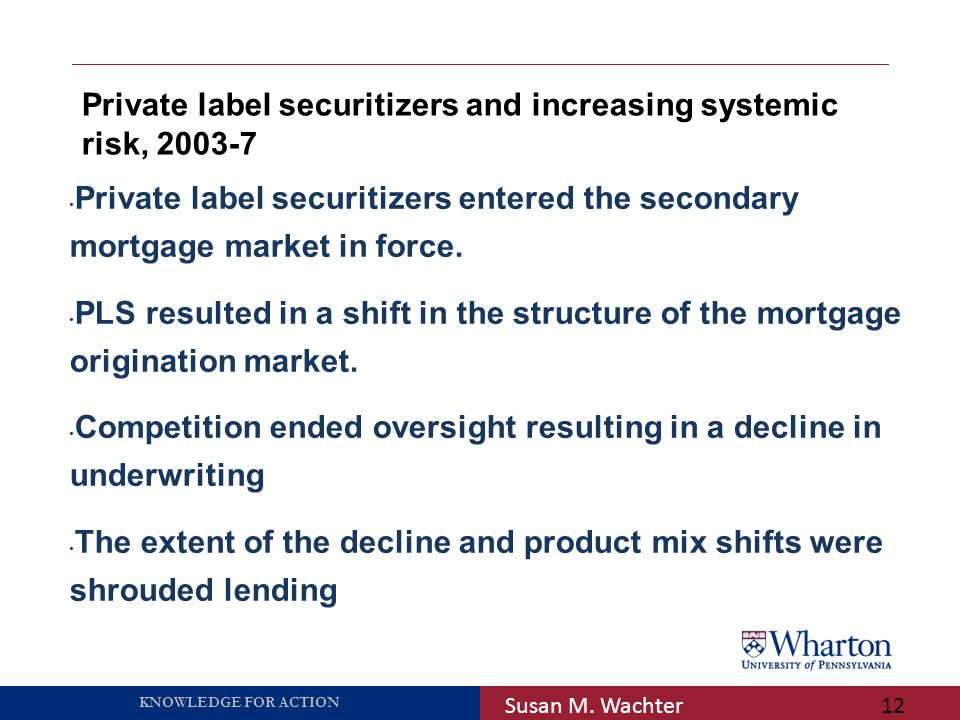 KNOWLEDGE FOR ACTION Private label securitizers and increasing systemic risk, 2003-7 Susan M.
