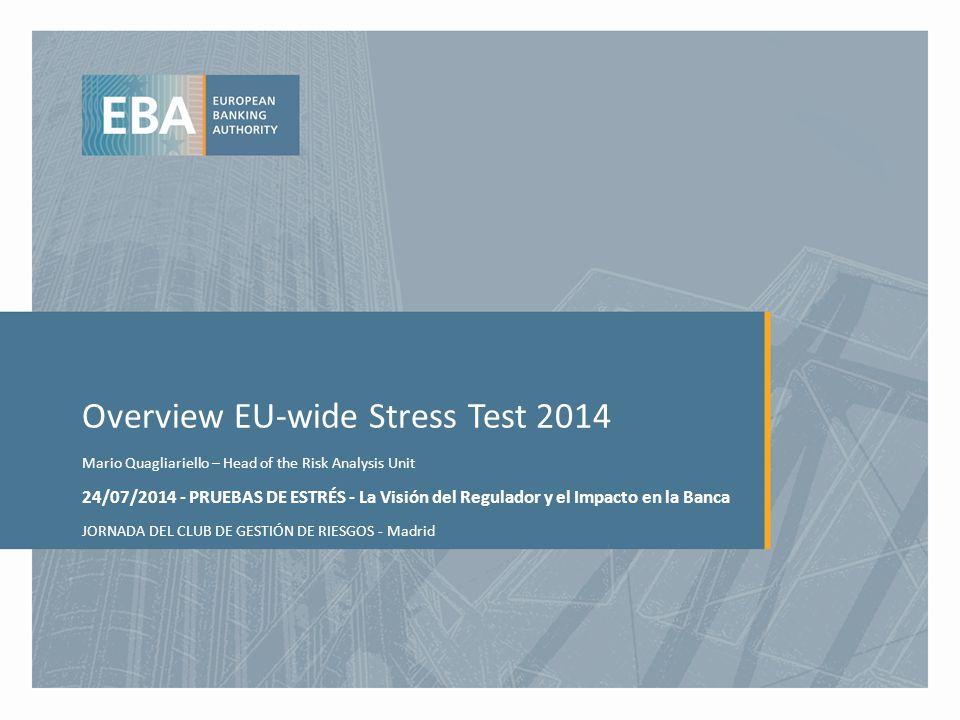 Overview EU-wide Stress Test 2014 Mario Quagliariello – Head of the Risk Analysis Unit 24/07/2014 - PRUEBAS DE ESTRÉS - La Visión del Regulador y el Impacto en la Banca JORNADA DEL CLUB DE GESTIÓN DE RIESGOS - Madrid