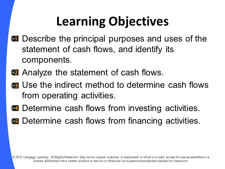 Overview of the Statement of Cash Flows Statement of cash flows: Shows how a company's operating, investing, and financing activities have affected cash during an accounting period.