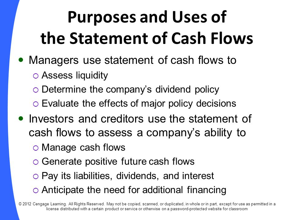 Indirect Method of Determining Net Cash Flows from Operating Activities © 2012 Cengage Learning.
