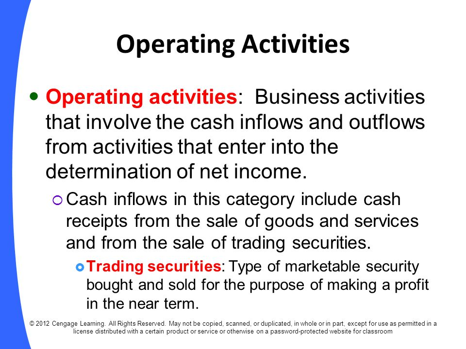 Investing Activities Investing activities: Business activities that involve the purchase and sale of property, plant, and equipment and other long-term assets, including long-term investments.
