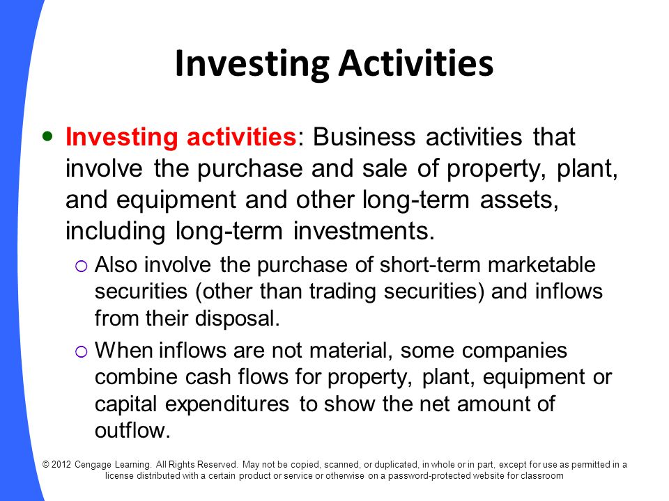 SOLUTION Cash flows from investing activities: Purchase of plant assets($33,600) Sale of plant assets12,700 The T accounts show total purchases of plant assets of $33,600, which is an outflow of cash, and disposal of plant assets that cost $23,000 and that had accumulated depreciation of $14,700.
