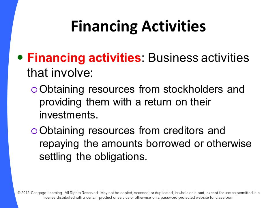 Preparation of the Statement of Cash Flows © 2012 Cengage Learning.