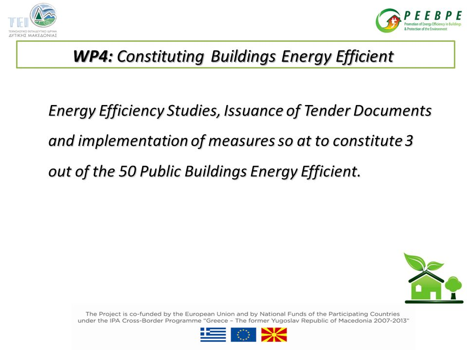 Energy Efficiency Studies, Issuance of Tender Documents and implementation of measures so at to constitute 3 out of the 50 Public Buildings Energy Efficient.