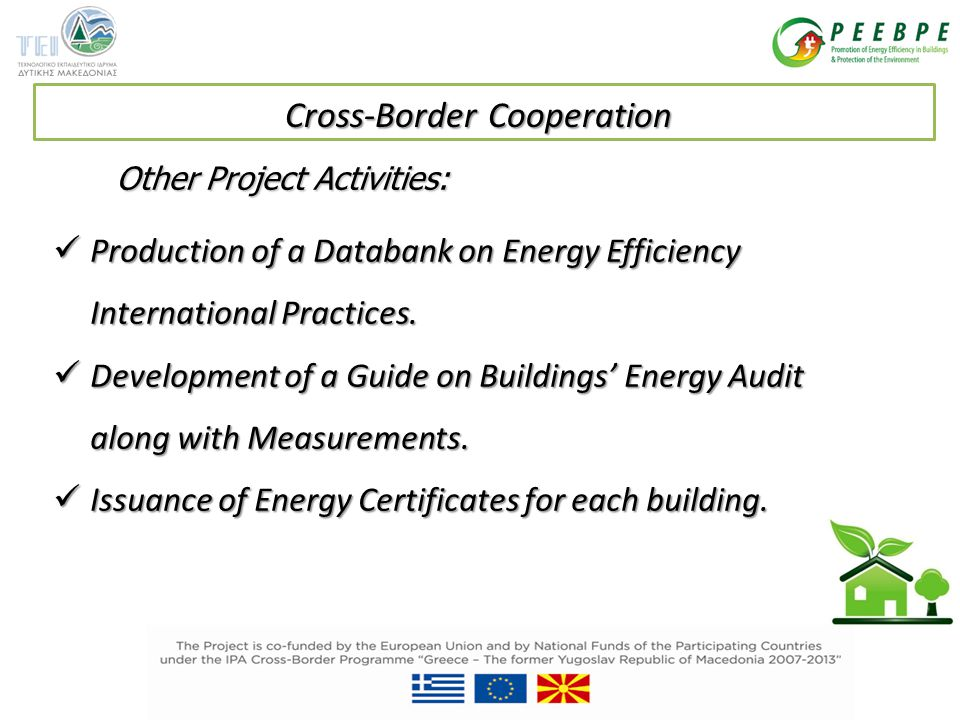 Other Project Activities: Production of a Databank on Energy Efficiency International Practices.