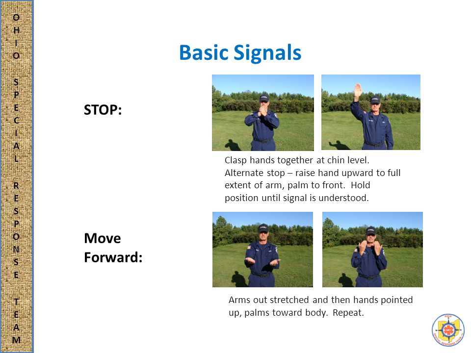 Basic Signals STOP: Move Forward: Clasp hands together at chin level.