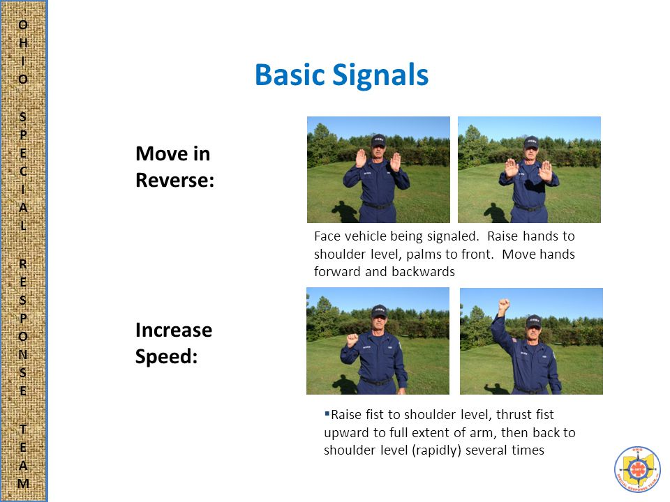 Basic Signals Move in Reverse: Increase Speed: Face vehicle being signaled.