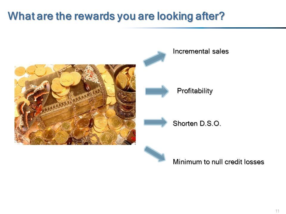 11 What are the rewards you are looking after? Incremental sales Profitability Shorten D.S.O. Minimum to null credit losses