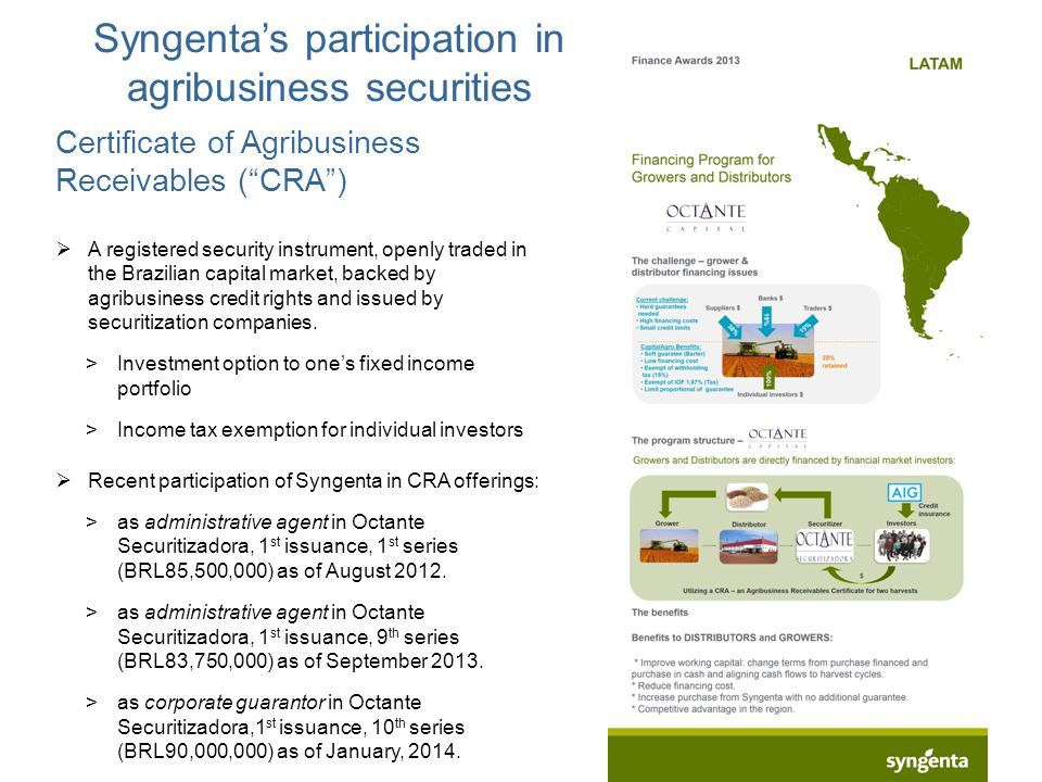 "Syngenta's participation in agribusiness securities Certificate of Agribusiness Receivables (""CRA"")  A registered security instrument, openly traded"