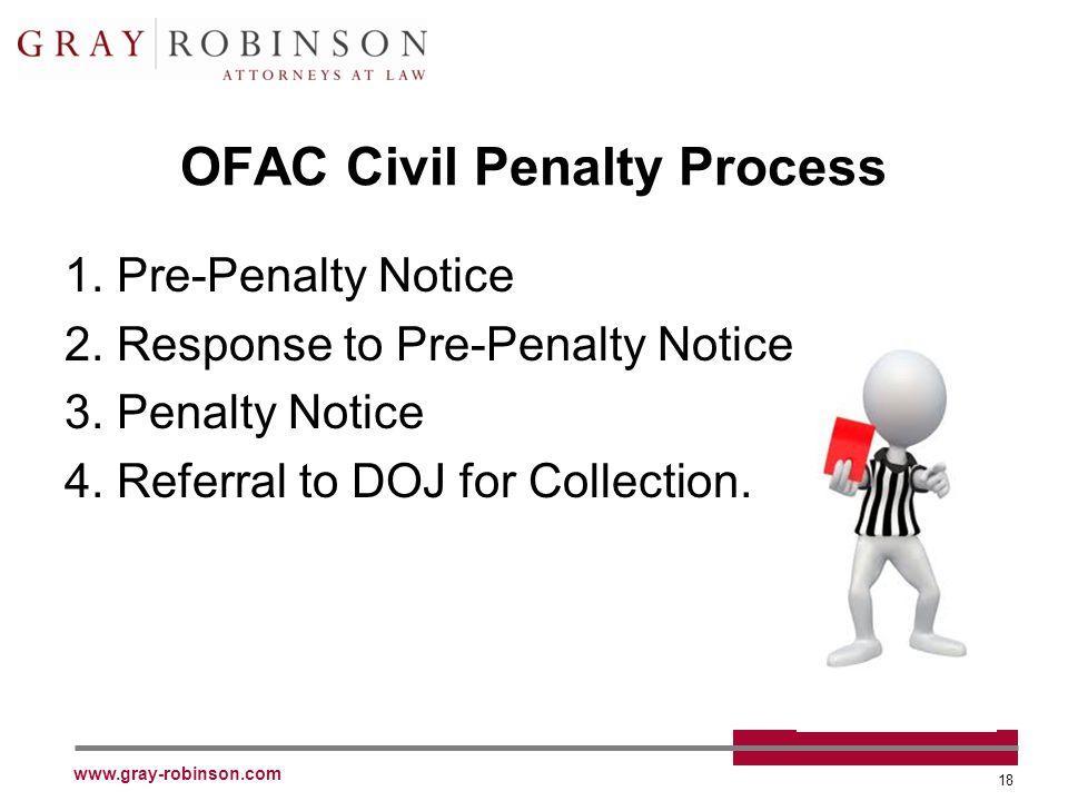 www.gray-robinson.com 18 OFAC Civil Penalty Process 1.