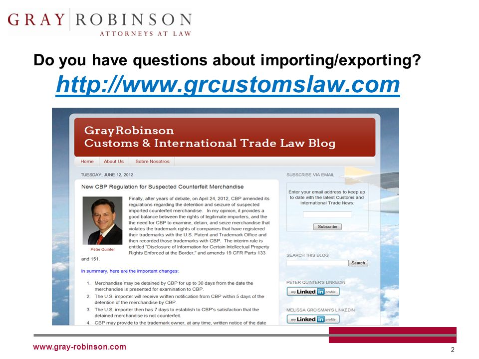 www.gray-robinson.com 33 Voluntary Self- Disclosures to Directorate of Defense Trade Controls U.S.