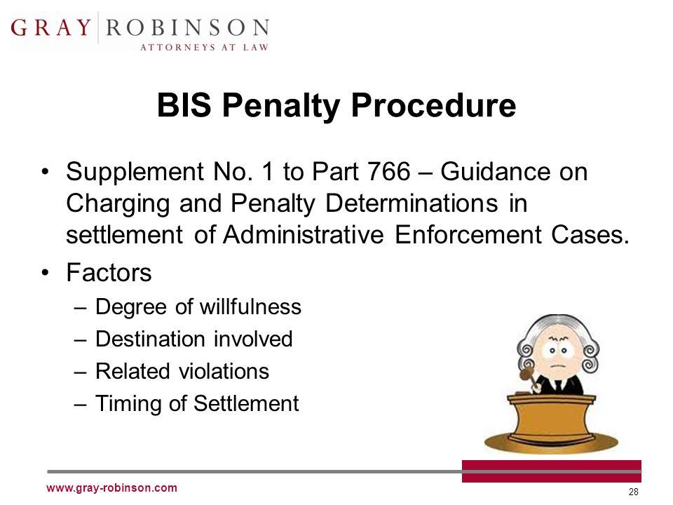 www.gray-robinson.com 28 BIS Penalty Procedure Supplement No.