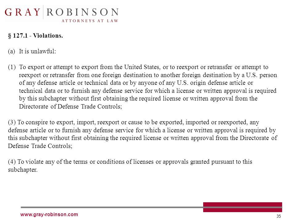 www.gray-robinson.com 35 § 127.1 - Violations.