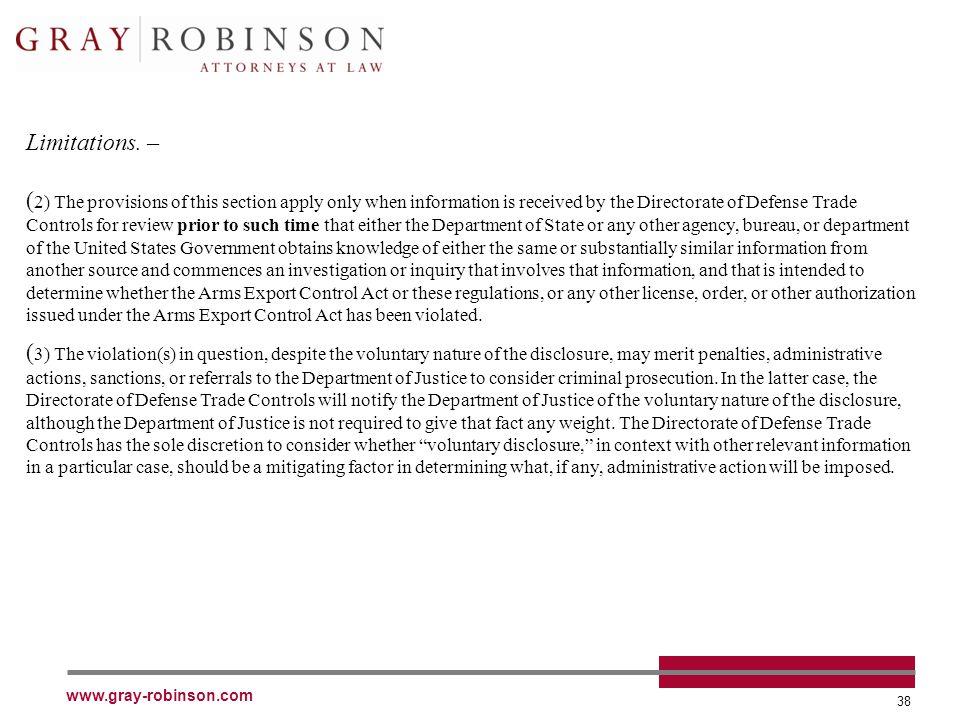www.gray-robinson.com 38 Limitations.