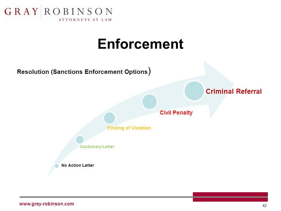 www.gray-robinson.com 42 Enforcement Resolution (Sanctions Enforcement Options ) No Action Letter Cautionary Letter Finding of Violation Civil Penalty Criminal Referral