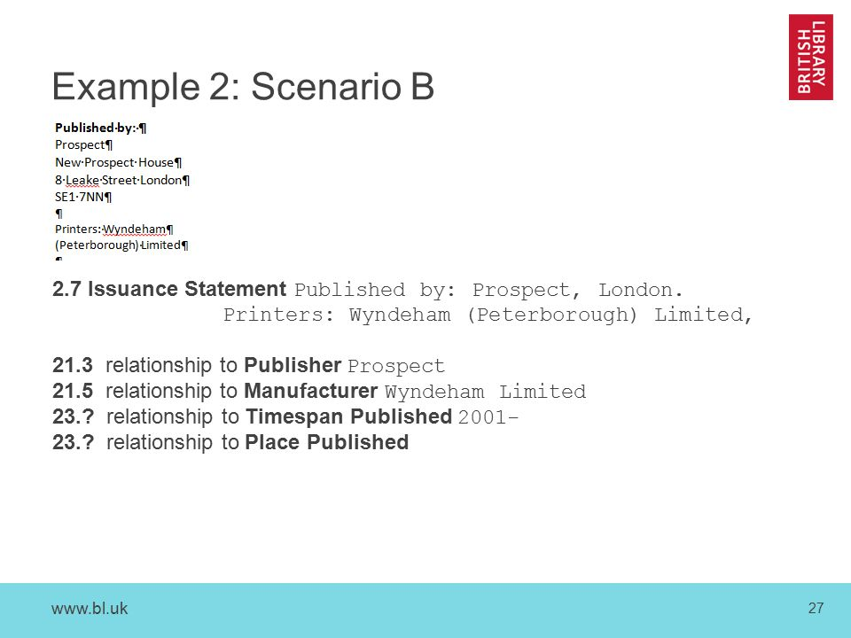 www.bl.uk 27 Example 2: Scenario B 2.7 Issuance Statement Published by: Prospect, London.