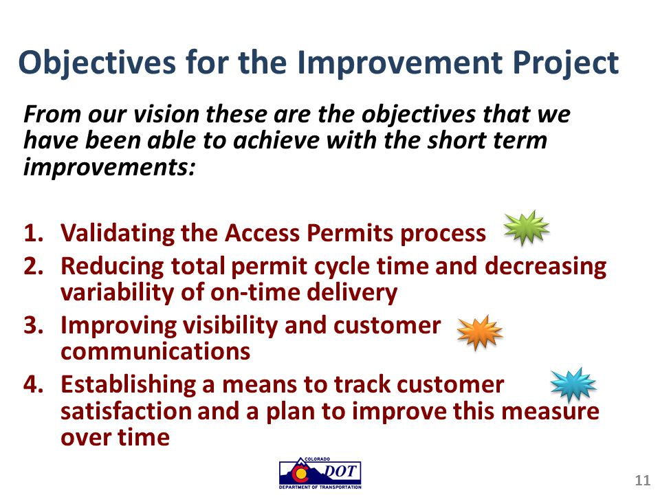 Objectives for the Improvement Project From our vision these are the objectives that we have been able to achieve with the short term improvements: 1.