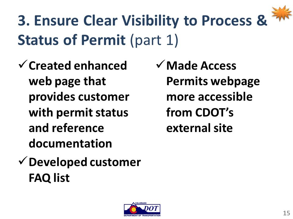 3. Ensure Clear Visibility to Process & Status of Permit (part 1) Created enhanced web page that provides customer with permit status and reference do
