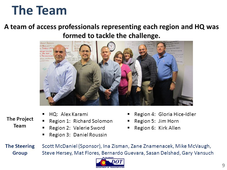 Vision for Access Permits Process CDOT's access permits team is comprised of dedicated professionals who strive to preserve integrity of the State roadway system by balancing mobility, safety, and economic development when assessing potential access to the state highway system.