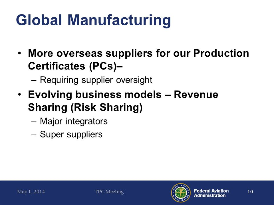 Federal Aviation Administration Global Manufacturing More overseas suppliers for our Production Certificates (PCs)– –Requiring supplier oversight Evol