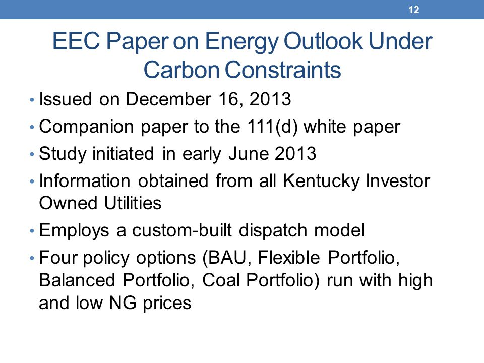 EEC Paper on Energy Outlook Under Carbon Constraints Issued on December 16, 2013 Companion paper to the 111(d) white paper Study initiated in early June 2013 Information obtained from all Kentucky Investor Owned Utilities Employs a custom-built dispatch model Four policy options (BAU, Flexible Portfolio, Balanced Portfolio, Coal Portfolio) run with high and low NG prices 12