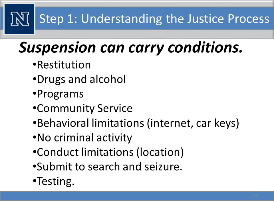 Step 1: Understanding the Justice Process Suspension can carry conditions.