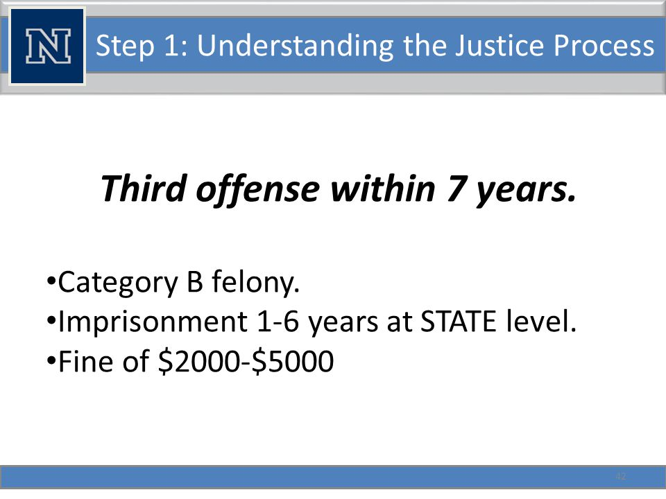 Step 1: Understanding the Justice Process Third offense within 7 years.